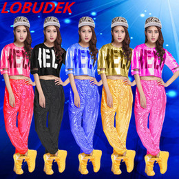 Wholesale Hip Hop Club Wear - (top+pants) cheering squad costumes sequins team female sexy costumes tide hip hop jazz stage wear singer DS club show performance clothing
