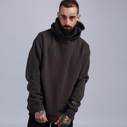 Hip-hop-look online-Kanye Oversized Winter Hoodie Hip Hop Männer Solide Beiläufige Lose Rollkragen Kapuze Hoodies Warme Fleece Adrette Look Liebhaber Pullover
