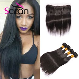 Wholesale Weave Front Closure - Alimoda Hair Ear To Ear Lace Frontal Closure With Bundles 13x4 Lace Front Closures Malaysian Straight Hair Weave Human Hair