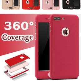 Wholesale Iphone Protection Covers - For Samsung S8 Hybrid 360 Degree Full Body Coverage Protection Cover Case Hard PC with Tempered Glass For iPhone 8 7 Plus 6 6S SE 5S
