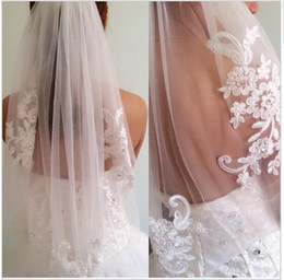 Wholesale Lace Diamond Wedding Veils - New arrival diamond veil short design single wedding veils bridal waist-length With Comb Bridal Veils 2018 Fashion Veil for Wedding