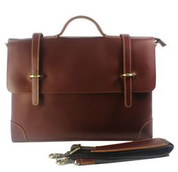 Wholesale zipper document case - Wholesale- Real Leather Men briefcase portfolio men genuine leather briefcase handbag business bag laptop bag office attache case document