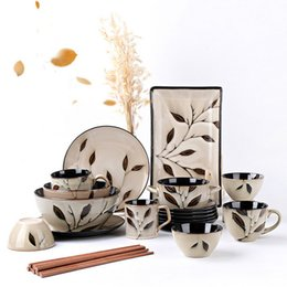 Wholesale Rice Hand - (11 piece) Creative hand - painted maple leaf household ceramic tableware sets rice bowls steak plates coffee cups free shopping