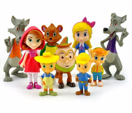 Wholesale Hood Set - 9pcs set Junior Goldie and Bear Little Red Riding Hood Pigs Wolf Forest Friends PVC Action Figure Doll Figurine Toy Cake Topper