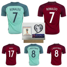 7d928a6880e7a Melhor qualidade tailandesa 2016 Portugal Equipa nacional Euro Cup Masculino  Home + Away soccer   5 Coentrao   8 J.Moutinho   7 Ronaldo   17 Nanl camisas  de ...