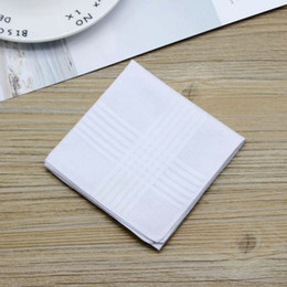 2019 reine lila brautkleider Männliche weiße Taschentücher Baumwollsatin-Tisch-Taschentuch-Super weiche weißeste Taschen-Schlepper-Quadrate 38cm für Bankett-Partei