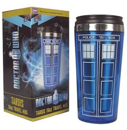 Wholesale Hot Coffee Drinks - Doctor Who TARDIS 16 oz Travel Mug Cup Stainless Steel Hot Cold Drinks New Beer mug Coffee Milk cup KKA1870