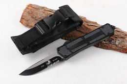 Wholesale Sample Micro Scarab tactical knife C HRC Black oxide Single edge Half Serrated blade EDC Pocket knives with nylon bag Black handle