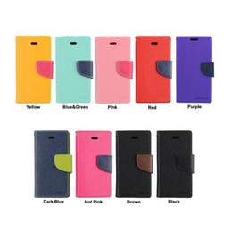 Wholesale Cellphone Stands Color - Mercury Flip stand Wallet Leather Case Contrast Color Credit Card Slot Holder Skin Cover For iPhone 7 samsung 6 cellphone case free shipping