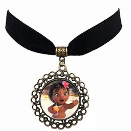 Wholesale Wholesale Black Elastic Necklaces - Vintage Moana Black Velvet Choker Necklace With Hollow Antique Bronze Round Gemstone Cabochon Pendant Elastic Statement Necklaces