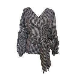 Wholesale Ladies Shirts Ruffles - 2017 Autumn Women Fashion White Black Ruffles Blouse V Neck Ladies Elegant Tops Plus Size Shirts Tops Female Blouses Shirt with Bow Tie