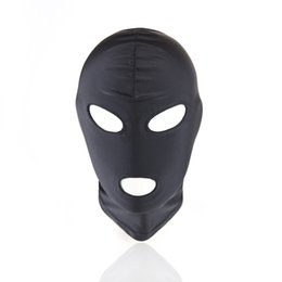 Wholesale Restraint Hood - 2017 New Tease Bondage Restraint Head Harness Slave Sexy Mask 3 Hole Hood Cap Open Mouth Eyes Adult Game Sex Toys For Couples