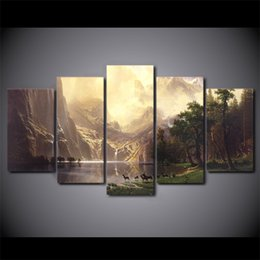 Wholesale Oil Paintings Ship Lake - 5 Pcs Canvas Art Mountain Lake Deers HD Printed Wall Art Home Decor Canvas Painting Picture Poster Prints Free Shipping NY-6564A