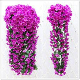 Wholesale violet rooms - Violet hanging wall silk flower 85 cm (6 colors) wedding living room party decoration flower vivid purple artificial flowers rattan