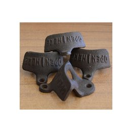 Wholesale Cap Catcher Opener - with Screws Wall opener cast iron Opener Wine Beer Mount Copper Cap RUSTIC CAST open HERE Metal Retro cap catcher vintage fixed wall-mounted