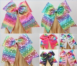 Wholesale Metallic Rainbow - 7 style available ! sparkling 7inch Chartreuse Metallic Rainbow Holographic Cheer Bow Cheerleading Dance for teens girls 8pcs