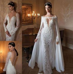 Wholesale Embellished Wedding Dresses - Berta 2017 Mermaid Wedding Dresses With Detachable Dress Cape V-neck Long Sleeve Sheer Back Lace Embellished Chapel Train Bridal Gowns