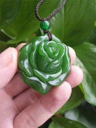 Wholesale Hand Carved Necklace - Fashion Natural Green Jade Rose Necklace Pendant Hand-Carved Lucky Amulet Hot