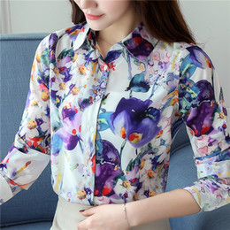 Wholesale Women S Silk Shirts Xl - 2017 New Fashion Autumn Silk Shirt Print Shirts POLO Long Sleeve Blouse Slim Tops Women Blouses