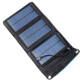 Wholesale Solar Charging Mobile Phones - NEW 5.5V 5W Foldable Solar Powered Charger USB Output For Charging Mobile Phones Solar Charger For Mobile Power Bank Free Shipping