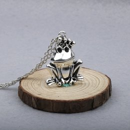 Wholesale Halloween Prince Costume - Fashion Jewelry Making Charms Necklace Alloy Silver Tone Frog Prince Pendant Costume Sweater Long Chain Necklaces Chain 60 CM YY381