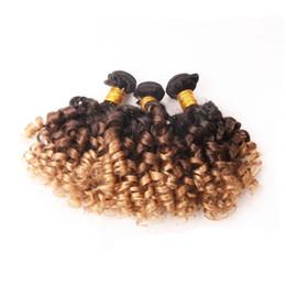 Cheveux espagnols en Ligne-Ombre Brésilien Vierge Cheveux Bundles espagnol Bouncy Bouclés Trois Tons Remy Armure de Cheveux Humains T1b 4 27 3pcs 4 pcs Lot 10-30 pouce