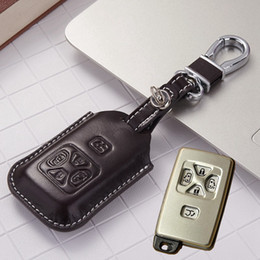 Wholesale toyota body stickers - Leather Car key Fob Case Cover for Toyota Vellfire Alphard Accessoriees 2010 2011 2012 2013 Alphard Key Holder with Key Chain
