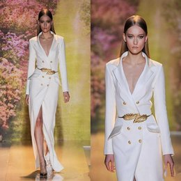 Wholesale High End Prom Gowns - 2017 Hot Sale High End Qulity White Split Evening Dresses Long Sleeves Sexy V-Neck Formal Prom Party Gowns With Golden Belt Custom Made