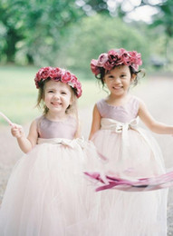 Wholesale Blue Tutu Ribbon Skirt - Custom Made Flower Girl Dresses for Beach Boho Country Wedding 2017 Ball Gown TUTU Skirt Jewel Vintage Child First Communion Dress DTJ