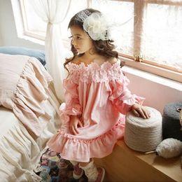 Wholesale Lolita Long - 2017 Children Girl Long Sleeve Dress Kids Girl's Summer Fashion Dresses Skirts Nice Sweet Dress Clothes 5 Pcs lot B
