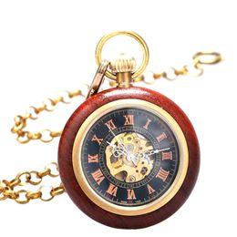 Wholesale Number Hunter - Wholesale-Double Open Hunter Case Vintage Bronze Roman Number Mechanical Pocket Watch Fob Watch Mechanical Watch Relogio Mecanico P822