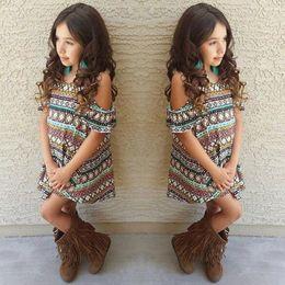 Wholesale Off Shoulder Stripes Dress - New Kids Dress Summer Girl Off Shoulder Dress Retro Style Children Stripe Clothing For 2~8 Year