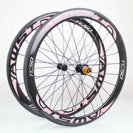 Wholesale Carbon Cycling Wheelset Clincher - AWST pink decal 700c carbon wheelset 50mm full carbon bicycle wheels 23mm width V brake carbon cycling wheels with ceramic bearing hubs