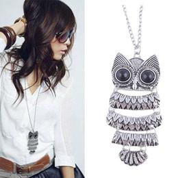 Wholesale Titanium Owl Necklace - Wholesale- 1Pcs Lady Women Vintage Silver Owl Pendant Necklace Best Gift Delicate