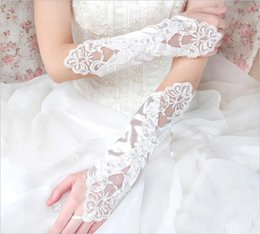 Wholesale Cotton Bridal Gloves - 2017 Beaded Embroidery Gloves in Stock Elbow Length Pearls Fingerless Black Red Ivory White Bridal Gloves for Wedding Quinceanera Prom Dress