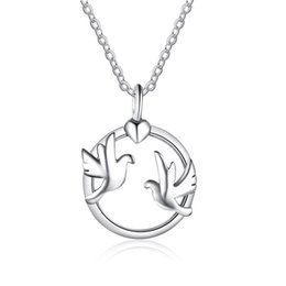 Wholesale Bird Pendant 925 - 925 Sterling Silver Jewelry Round Shape Pendant with Double Birds Design Necklaces 45cm Cross Chain Necklaces