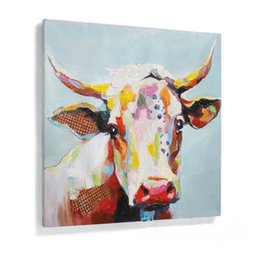 Wholesale Modern Graffiti Art - Framed Pure Handpainted Modern Abstract Animal Graffiti Art oil painting Cow,On High Quality Canvas Home Wall Decor size can be customized
