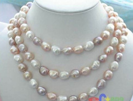 """Wholesale Long Baroque Freshwater Pearl Necklace - NEW long 46 """"8-9mm baroque white+Pink+Purple freshwater pearl necklace AAA"""