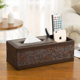 Wholesale Tissue Box Holder Organizer - Wholesale- Classic Rectangle PU Leather Multifunction Tissue Storage Box Pen Remote desk organizer Paper Towel Napkin holder dispenser