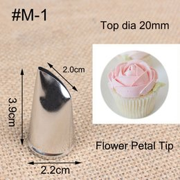 Wholesale Rose Head Cream - Wholesale- #M-1 Rose Petal Metal Cream Tip Pastry Tools Cake Cream Decoration Stainless Steel Piping Icing Nozzle Cupcake Head