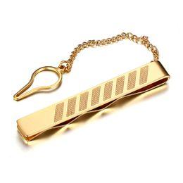 Wholesale Tie Chain Design - Men Gold Color tie clips stanless steel tie clips with chain design men jewelry square style tie clips jewelry TC-006