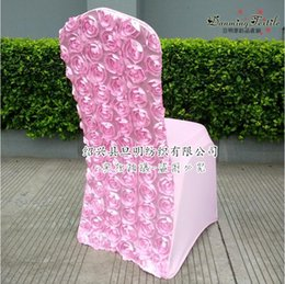 Wholesale Wholesale Flower Chair Covers - 2018 Newest Pink Wedding Chair Cover Size 45*45*90CM Rose Flower Wedding Chairs For Western Wedding Prom Party
