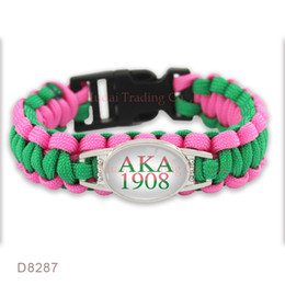 Wholesale Green Survival Bracelet - (10 PCS lot) Aka 1908 Paracord Survival Friendship Womens Girls Green Hot Pink Wax Bracelets Drop Shipping