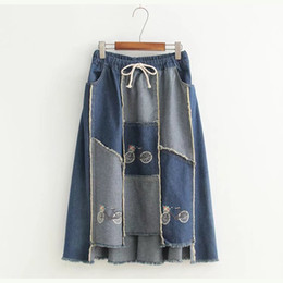 Wholesale Bicycle Skirts - New Denim Skirt Patchwork Fashion Skirt Bicycle Print Preppy Style Loose One Size Fits All 30297