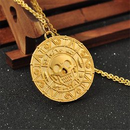 Wholesale Wholesale Caribbean Gifts - 2017 Latest Pirates of the Caribbean Aztec Gold Coin Necklace Men Skull Sweater Pendant Jewelry