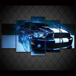 Wholesale Framed Car Pictures - 5 Pcs Set Framed HD Printed shelby mustang car picture Painting wall art room decor print poster picture canvas Free shipping ny-620