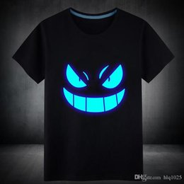 Wholesale Fluorescent T Shirts - Wholesale Mens Summer Short T-Shirt Blue Fluorescent Casual Luminous T-shirts Men Tshirt Male Fitness Tops free shipping