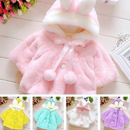 Wholesale Girls White Ponchos - fashion new kids Baby Infant Girls Fur Winter Warm Coat Cloak Jacket Thick Warm Clothes Girl children Cute Hooded clothing christmas