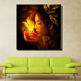 Wholesale Fairies Oil Paintings - ZZ673 modern decorative canvas art fairy canvas pictures oil art painting for livingroom bedroom decoration unframed paintings