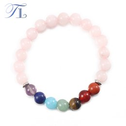 Wholesale Rainbow Crystal Bracelet - TL Natural Rose Crystal 7 Chakra Yoga Bracelet Seven Rainbow Bead Healing Love Bracelet 2017 Lucky Friendship Handmade Bracelet